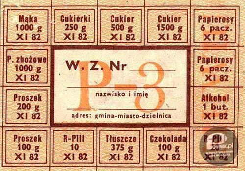 Kartka na produkty spożywcze Pewex
